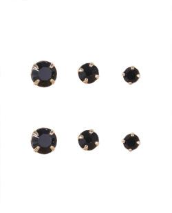 Kit 3 pares de brincos folheados de metal dourado com pedra preta Iandara