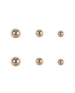 Kit 3 pares de brincos folheados de metal dourado Isadora