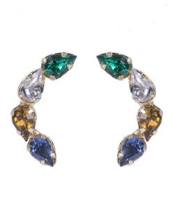 Ear cuff folheado de metal dourado com pedras coloridas Isabel