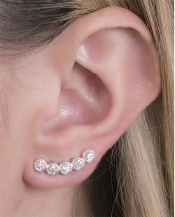 Ear cuff folheado de metal prateado com pedra cristal Ingrid