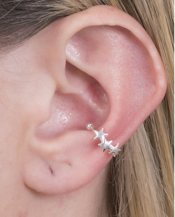 Piercing fake folheado de metal prateado Iara