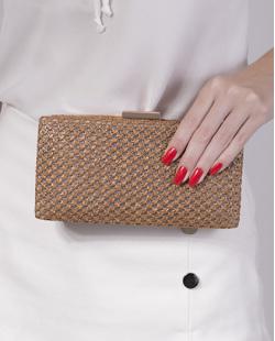 Bolsa de mão clutch de palha bronze Yone