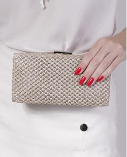Bolsa de mão clutch de palha silver Yone