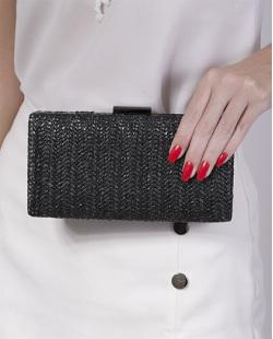 Bolsa de mão clutch de palha black Yris