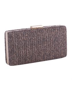 Bolsa de mão clutch de palha brown Yoná