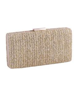 Bolsa de mão clutch de palha khaki Yoná