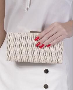 Bolsa de mão clutch de palha ivory Yoná