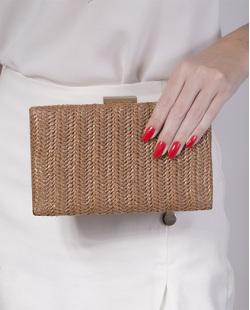 Bolsa de mão clutch de palha bronze Yarin