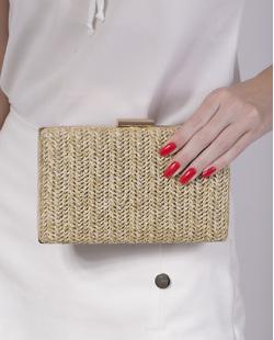 Bolsa de mão clutch de palha khaki Yarin