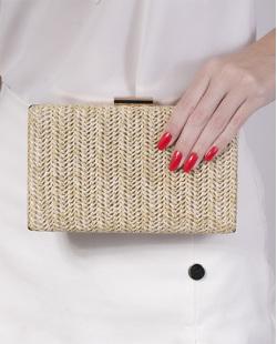 Bolsa de mão clutch de palha apricot  Yarin