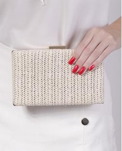 Bolsa de mão clutch de palha ivory Yarin