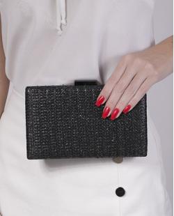 Bolsa de mão clutch de palha black Yoko