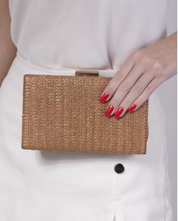 Bolsa de mão clutch de palha bronze Yoko