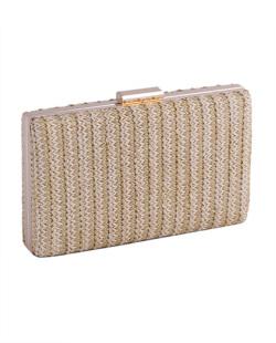 Bolsa de mão clutch de palha khaki Yoko