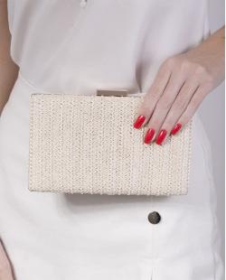 Bolsa de mão clutch de palha ivory Yoko