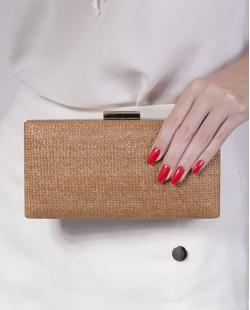 Bolsa de mão clutch de palha brown Yumi