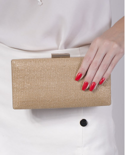 Bolsa de mão clutch de palha camel Yumi