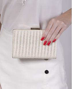 Bolsa de mão clutch de palha white Yanka