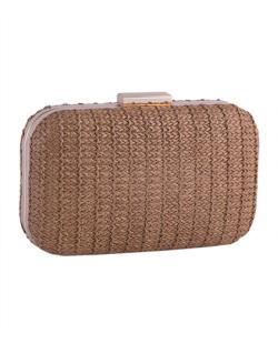Bolsa de mão clutch de palha bronze Yara