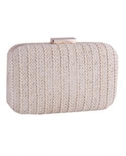 Bolsa de mão clutch de palha ivory Yara
