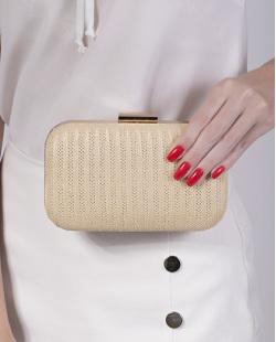 Bolsa de mão clutch de palha apricot Yris