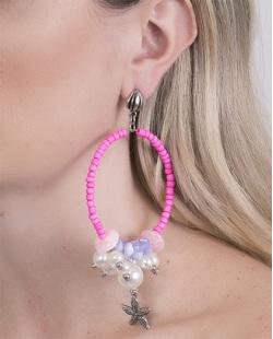 Maxi Brinco de metal prateado com miçanga pink Bebel