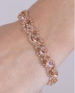 Pulseira de metal dourado com pedra rosé Maísa