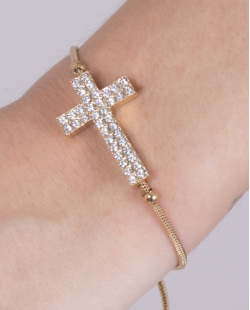 Pulseira de metal dourado com strass cristal Nalu