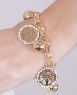 Pulseira de metal dourado com strass cristal Nina