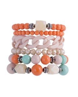 Kit 6 pulseiras de acrílico laranja e bege Tayla