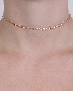 Gargantilha choker de metal dourado com pedra cristal Zara