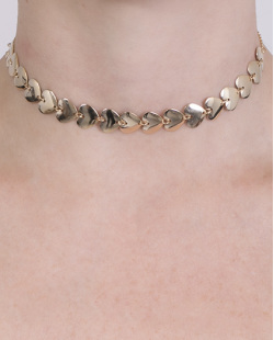 Gargantilha choker de metal dourado Perséfone