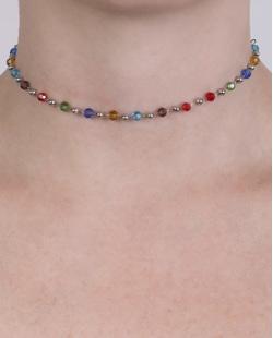 Gargantilha choker de metal prateado com pedras coloridas Éline