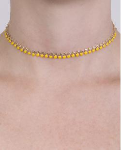Gargantilha choker de metal dourado e amarelo Athena