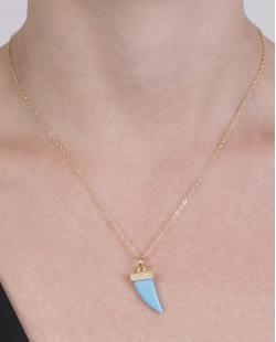 Colar de metal dourado com acrílico azul Amarílis