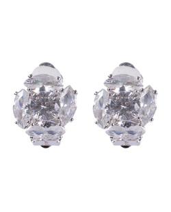 Brinco de pressão prateado com pedra cristal Antonella