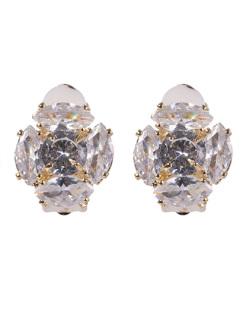Brinco de pressão dourado com pedra cristal Antonella