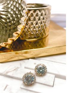 Brinco de pressão dourado com pedra cristal Agustina