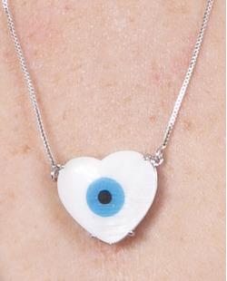 Colar de metal prateado com olho grego Marta
