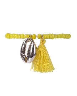Pulseira de miçanga e tassel amarelo Rebeca