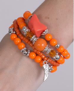 Kit 4 pulseiras de metal prateado com pedra laranja Ayla