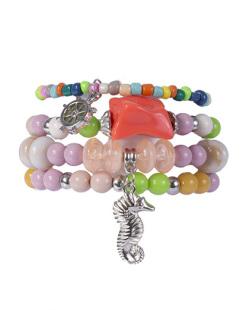 Kit 4 pulseiras de metal prateado com pedras coloridas Rafaela