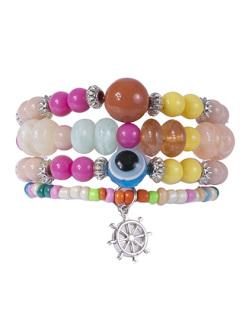 Kit 4 pulseiras de metal prateado com pedras coloridas Gabriela