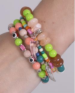 Kit 4 pulseiras de metal prateado com pedras coloridas Luna