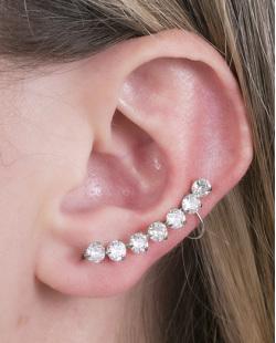 Ear cuff de metal prateado com pedra cristal Alita