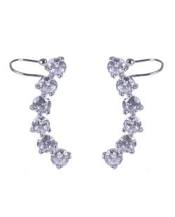 Ear cuff de metal prateado com pedra cristal Amber
