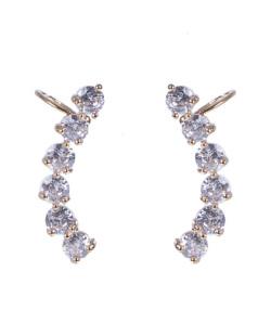Ear cuff de metal dourado com pedra cristal Amber