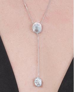 Colar de metal prateado com pedra azul Ketlyn