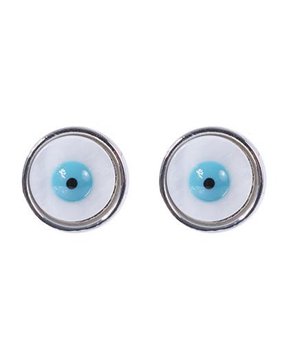 Brinco pequeno de metal prateado com olho grego Ully
