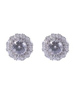 Brinco pequeno de metal prateado com pedra cristal Uda